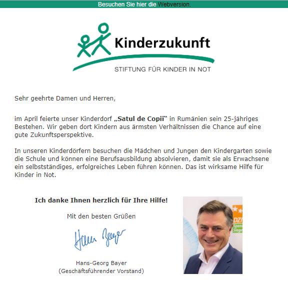 Stiftung Kinderzukunft - Aktuelle Projekte