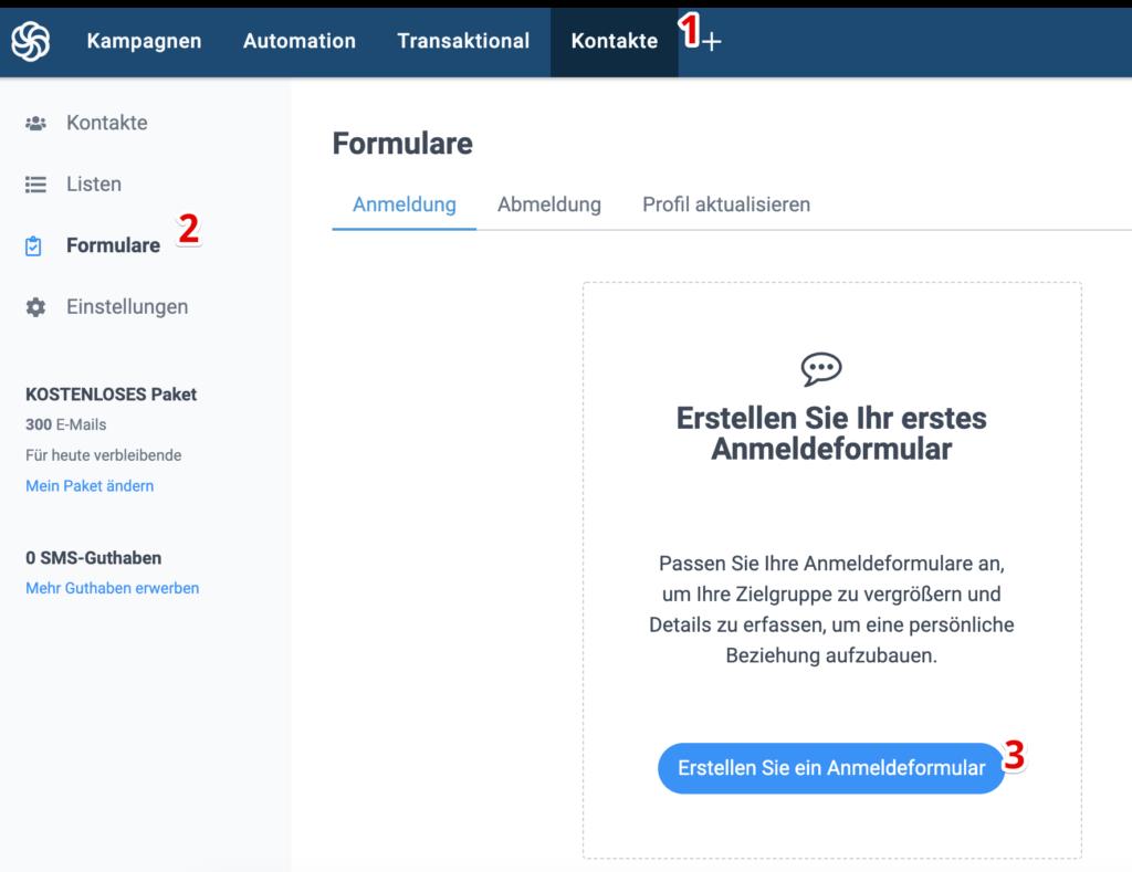 Sendinblue Account Formular erstellen