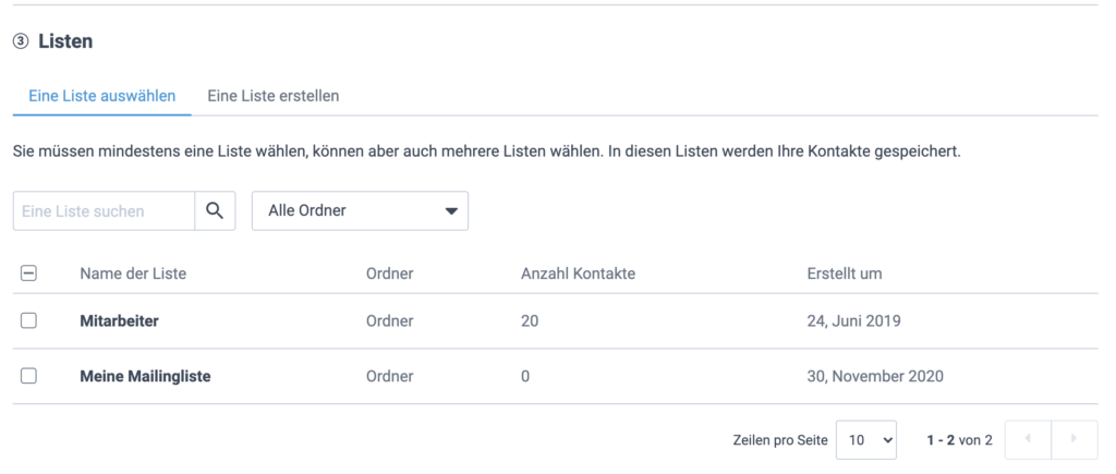 Sendinblue Account Formulareinstellungen Listen