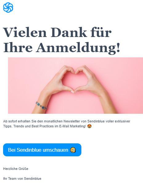 Willkommens-Mailing als Beispiel für Marketing Automation bei Sendinblue