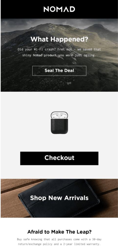 Beispiel Warenkorbabbrecher-Mail