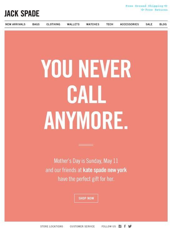 Kampagnenbeispiel zum Muttertag von Jack Spade
