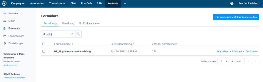 Online-Formulare erstellen mit Sendinblue