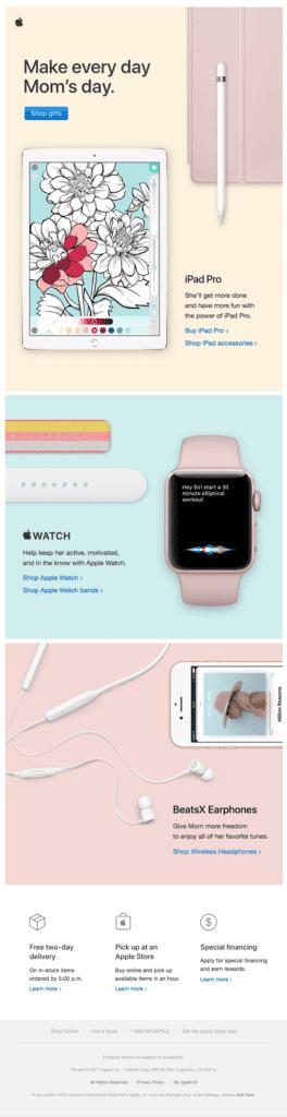 Kampagnenbeispiel zum Muttertag von Apple