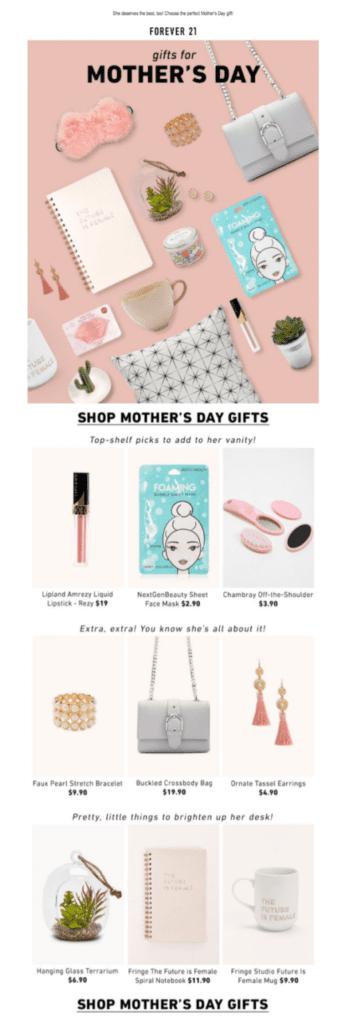 Kampagnenbeispiel zum Muttertag von Forever 21