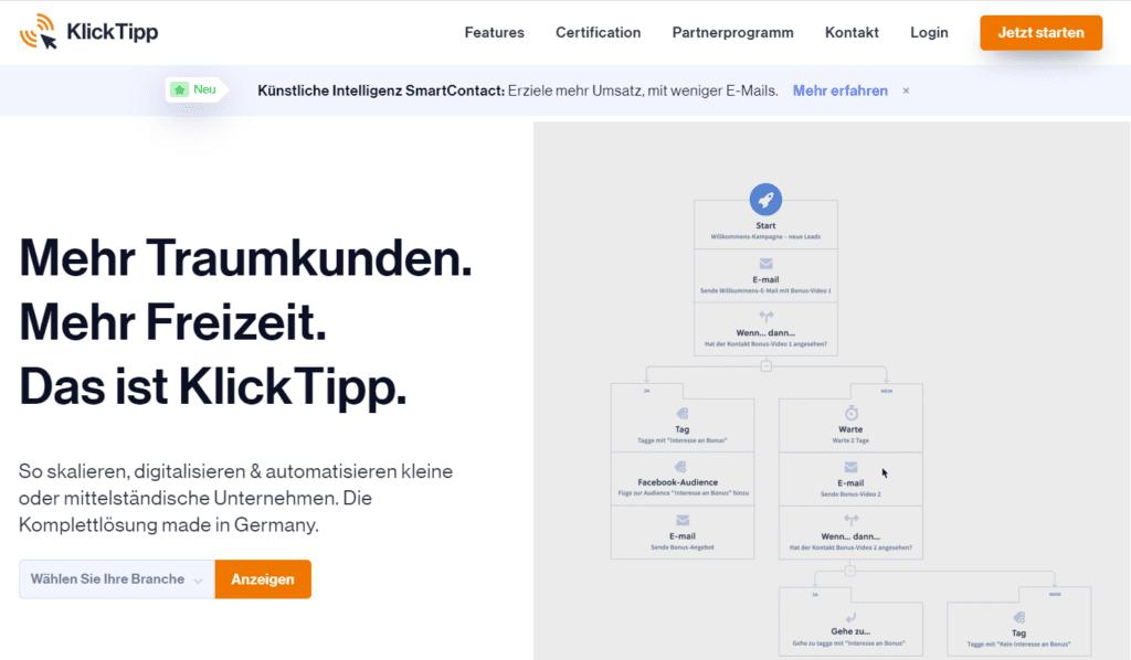 Die 12 besten Newsletter Softwares im Vergleich, Beispiel KlickTipp