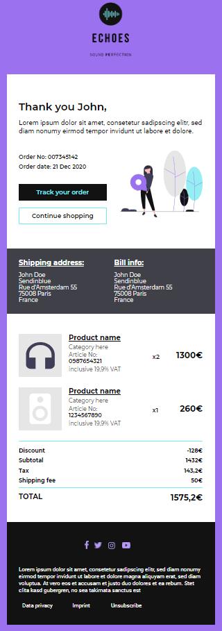 Transaktionale E-Mail-Vorlage von Sendinblue