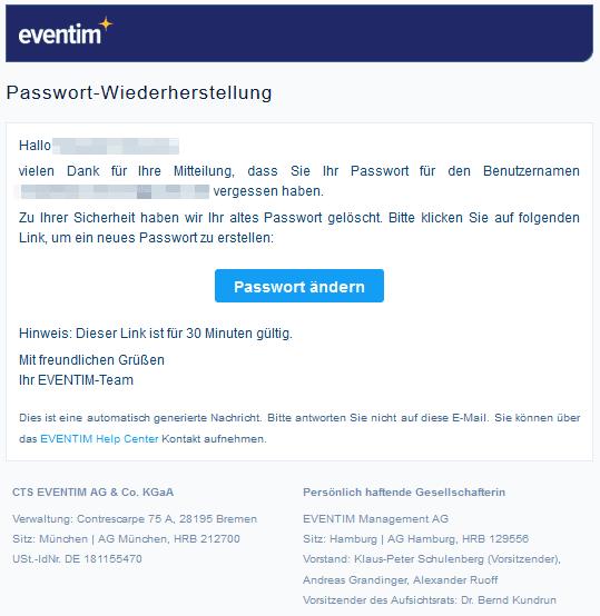Beispiel für transaktionale E-Mails von Eventim