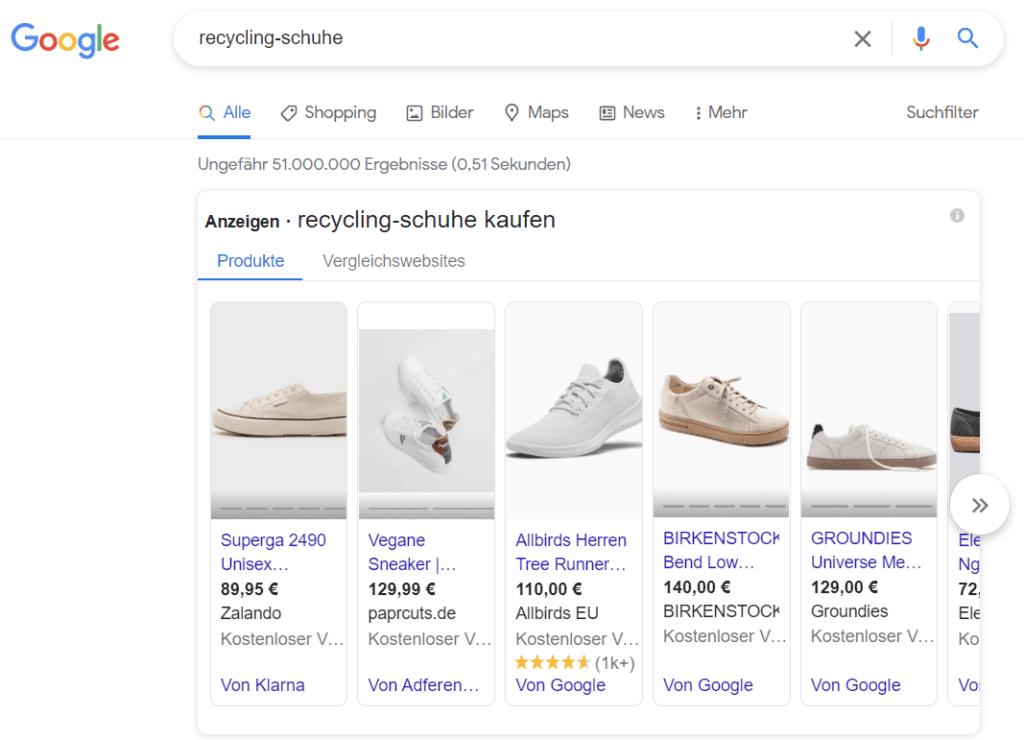 Ein Beispiel für Google-Shopping-Anzeigen