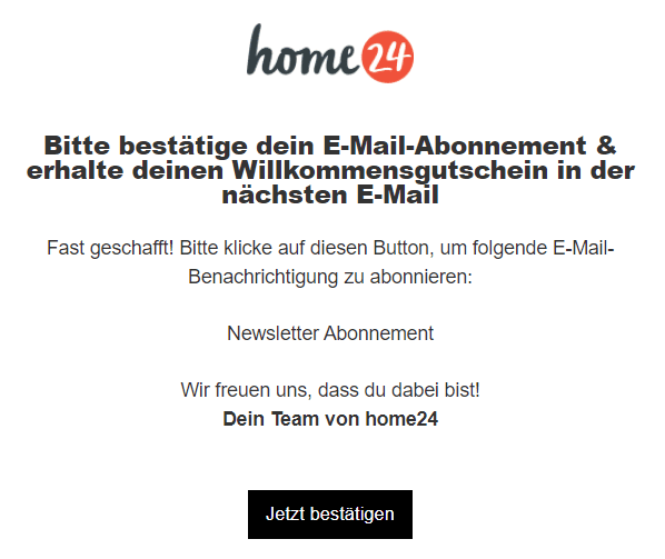 Beispiel für transaktionale E-Mails von Home24