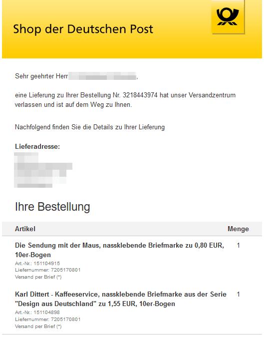 Beispiel für transaktionale E-Mails von Deutsche Post