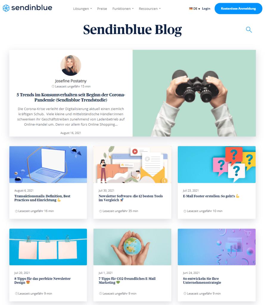 Der Sendinblue Blog als Beispiel für E-Commerce Content Marketing.