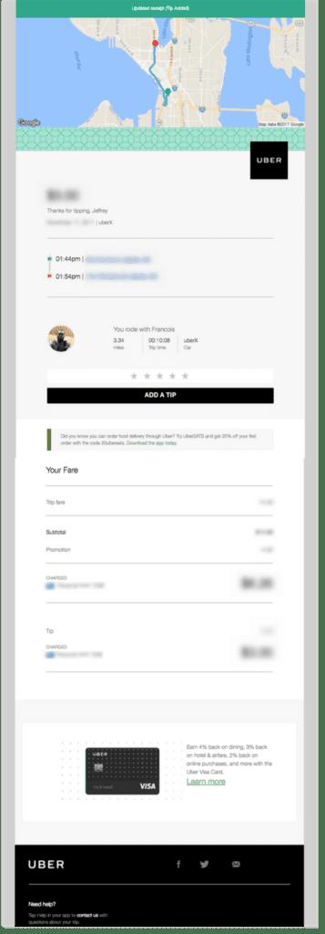 Beispiel für transaktionale E-Mails von Uber
