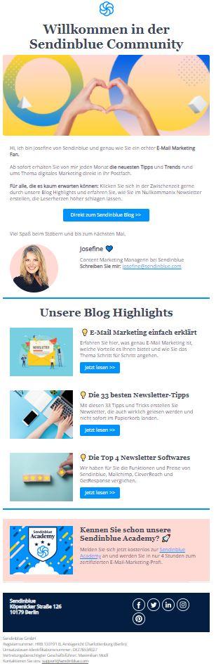 Willkommens-Mail für Abonnent:innen des Sendinblue Blogs