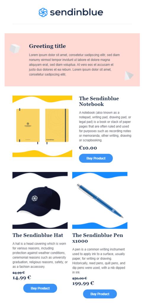 Shopify Newsletter Premium Template von Sendinblue